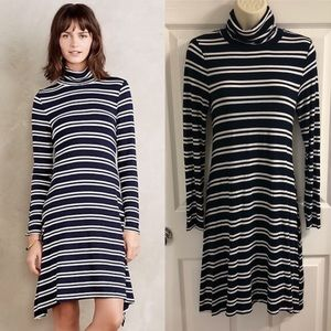 Maeve Anthropologie Stripe Turtleneck Swing Dress